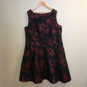 Talbots Red & Black Floral Grosgrain Dress Plus 20